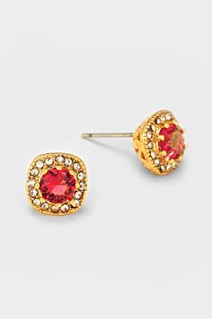 Golden Anna Earrings in Ruby CZ on Emma Stine Limited