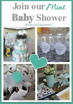 Join our 'Mint' Baby Shower for special inspiration and a free printable. To read the full post for more awesome ideas click through to www.easyonthetongue.com