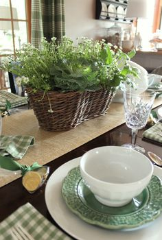 """Love this """"green"""" tablescape - especially the green plaid napkins!!"""