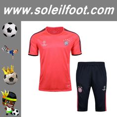 Champions T-Shirt De Foot Bayern Munich + Pantalon 3/4 Rouge Kit Saison 16 17 Moins Cher