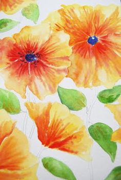 Painting in Trees: Orange Flowers Tutorial Part 2: Stems and Leaves