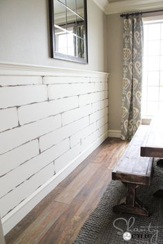 inexpensive-plank-wall using 1/2 inch Purebond Birch Plywood cut into 7 1/2 boards from Home Depot
