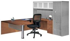 Cherryman Jade U Desk with Bridge and Glass Modesty Panel - Great for home office or work