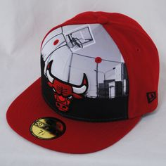 New Era 59fifty Round Dway Chicago Bulls Red NBA Fitted Flat Peak ...