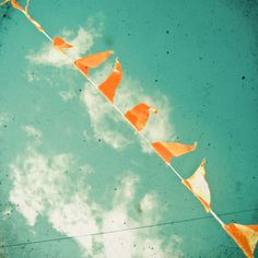 teal and coral nursery art photo | Bunting - Nursery wall art, orange and teal, fair photography 8x8 ...