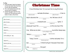 FREE Christmas Mad Lib Type Activity