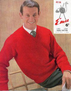 Knitting Pattern For V Neck Jumper : mens sweater knitting pattern PDF mens v neck or round neck jumper 38-48