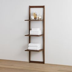 Three Tier Teak Bath Shelf | Crate and Barrel Open shelves are big in 2016 and will Maykke your bathroom items stand out.