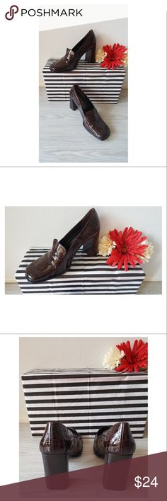 GUESS Shoes Slip On Block Heel Faux Alligator GUESS Shoes Slip On Heels Patent Leather Brown Size: 8 1/2 B Made In Spain  In Very Nice Condition. GUESS Shoes Heels