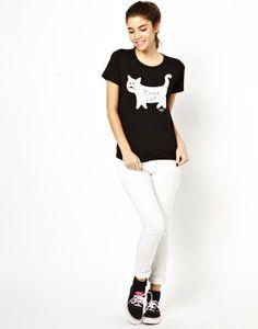 Black Cotton Round Neck Short Sleeve Animal Prints Tops JC492-1 US$18