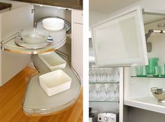 upper glass cabinet ans corner solutions I'd like for my kitchen