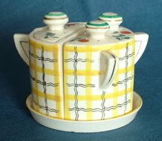 Vintage Fairylite Japanese Novelty Chequered Ceramic Cruet Set Legacy Antiques and Collectibles Ltd Condiment Sets, Japanese, Plates, Ceramics, Antiques, Vintage, Home Decor, Licence Plates, Ceramica