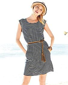 Striped dress with cute hat--perfect summer look