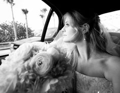 beautiful bride in a limo on her special day.