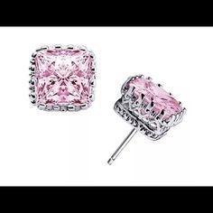 Posh .925 Square Crown Earrings Last Pair NWT Stunning .925 Pink CZ Square Crown Detailing Earrings Price is Firm Unless Bundled Last Pair Jewelry Earrings