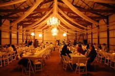 barn wedding with chandelier and draping