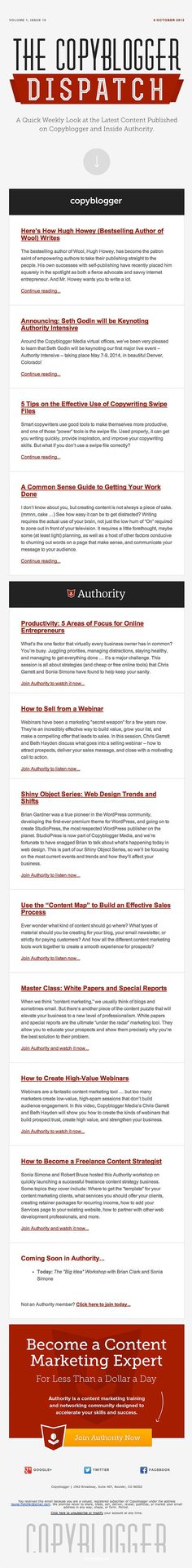 Weekly Newsletter Email Design from CopyBlogger