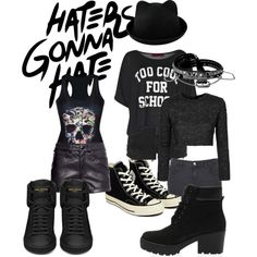 Haters Gonna Hate by britt-fire on Polyvore featuring Topshop, Boohoo, Yves Saint Laurent and Converse