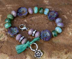 Pansy knotted bracelet  boho shabby chic beaded by Mollymoojewels, £44.00