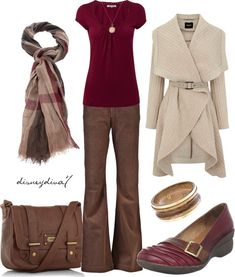 Bell bottom chinos, easy tshirt, belted shawl collared sweater coat, plaid scarf, leather tote, and mary jane like flats.  Chocolate, cream, taupe, black, and wine.