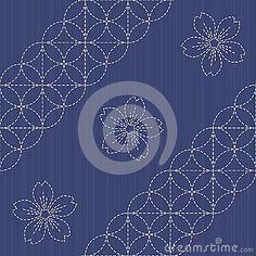Sashiko motif - blooming cherry flowers. Needlework texture.