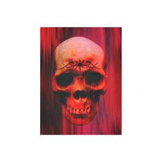 """Red Horror Cotton Linen Wall Tapestry 60""""x 80"""" (€44) ❤ liked on Polyvore featuring home, home decor, wall art, skull home decor, skull wall art, tapestry wall art, skull home accessories and red home accessories"""