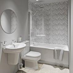 Showerwall Custom Herringbone acrylic shower wall panel 1220 x 2440 Bathroom Feature Wall, Bathroom Wall Panels, Shower Wall Panels, Acrylic Shower Walls, Acrylic Wall Panels, Fitted Bathroom, Small Bathroom, Family Bathroom, Master Bathroom