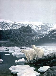 Artist/Naturalist ROBERT BATEMAN (Canadian: 1930) | Painting... Polar Bears at Baffin Island