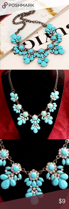 Turquoise fashion jewelry statement necklace This is a Posh Resell Turquoise fashion jewelry statement necklace. It has antiqued silver tone metal, is 16 inches, with a 3 inch extender and lobster claw clasp. The colors are Turquoise and clear rhinestones. Perfect accessory to your wardrobe! Thanks for looking! Jewelry Necklaces