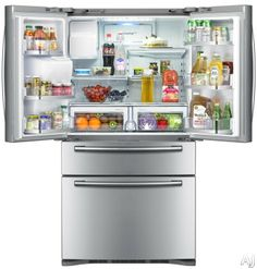 Samsung RF4287 28.0 cu. ft. French Door Refrigerator with 5 Spill Proof Glass Shelves, Twin Cooling Plus System, Surround Air Flow, FlexZone Drawer, Counter Height Design and External Ice/Water Dispenser