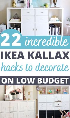 Best built in IKEA Kallax hacks for your bedroom, craft room, kitchen, and entryway. These Scandinavian Interior KALLAX hacks are great for your TV stands, benchtop, desk, and office table. #ikeahack #diyikea #diyhomedecor #ikeakallax Ikea Office Hack, Ikea Home Office, Office Hacks, Desk Hacks, Office Table, Ikea Hacks, Ikea Craft Storage, Office Storage, Storage Hacks