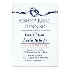 Simple Wedding Rehearsal Dinner Royal Blue Tying the Knot Rehearsal Dinner Card