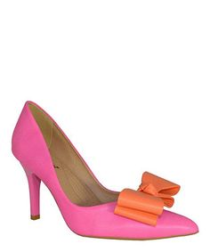 Look what I found on #zulily! Pink Two-Tier Bow Leather Pump by Bruno Menegatti #zulilyfinds