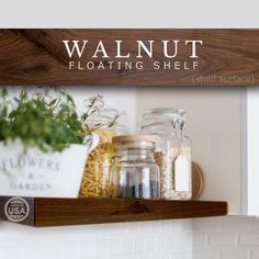 Walnut Floating Shelf Custom Length Depth and Finish Color | Etsy Walnut Floating Shelves, Custom Floating Shelves, Walnut Shelves, Floating Shelf Brackets, Deep Shelves, Solid Wood Shelves, Walnut Veneer, Walnut Wood, Nook