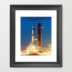 "Apollo Saturn V ""LIFTOFF"" 1967 Framed Art Print by Planet Prints - $31.00"