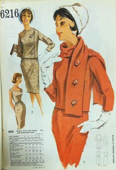 From The McCall Pattern Company archives: pages from a 1963 McCall's catalog. I love the way the scarf buttons onto the jacket! Vogue Patterns, Mccalls Patterns, Vintage Sewing Patterns, Clothing Patterns, Pattern Sewing, Classic Outfits, Retro Outfits, Vintage Outfits, 1960s Fashion