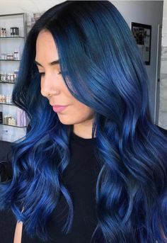 Ombre Hair Looks That Diversify Common Brown And Blonde Ombre Hair Vibrant Hair Colors, Hair Dye Colors, Ombre Hair Color, Cool Hair Color, Blonde Color, Smokey Blue Hair, Dark Blue Hair, Bright Blue Hair, White Hair