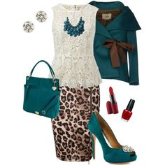 """Leopard and Lace"" by alecias on Polyvore I love the leopard with the teal! And that jacket!"