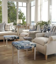 from Sarah RIchardson's lake house - love the neutral space and mix of patterns + two interesting footstools