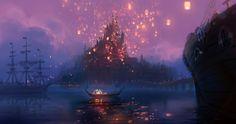 Tangled inspired painting... lantern festival scene