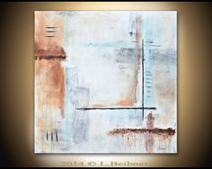 Original Abstract painting contemporary wall decor 36x36 square brown large abstract painting modern art by L.Beiboer