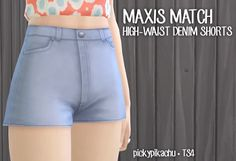 Maxis Match High-Waist Denim Shorts - The Sims 4 Catalog Sims 4 Mm Cc, Sims Four, My Sims, Sims 4 Mods, Maxis, Sims4 Clothes, Sims 4 Clothing, Female Clothing, Sims 4 Game