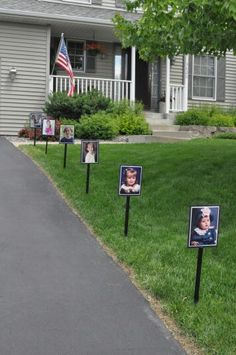 Graduation Party - Line the drive with pictures to watch the graduate grow up, cute!