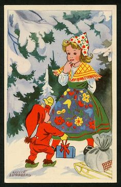 The illustrator of children's books Lucie Sperling was born in Riga in 1908 in a German family. After the First World War, the family moved to Berlin where Lucy had her artistic training. Christmas Train, Old Christmas, Vintage Christmas Cards, Christmas Greetings, Scandinavian Christmas, Scandinavian Style, Vintage Artwork, Pretty Cards, Book Illustration