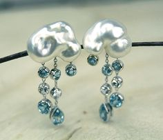 Pearl, white sapphire, and blue zircon cloud earrings