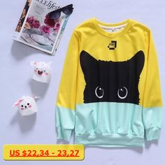 Harajuku Hit Color Yellow Blue Cat Fashion Men Women Sweatshirt Space Cotton Kawaii Cartoon Cat Pullover Hoodies Wholesales