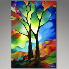 Two Trees, Original Acrylic Abstract Painting by Sally Trace; textured stained glass appearace.