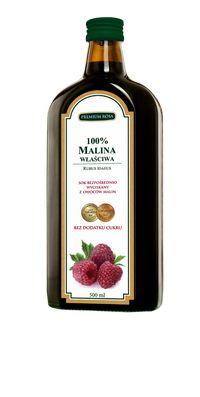 Wyciąg z malin. Raspberry extract. Zawiera:duże ilości kwasów organicznych (cytrynowego, jabłkowego, askorbinowego, salicylowego), pektyny, antocyjany, sole mineralne, z których najważniejsze to związki żelaza i miedzi oraz witaminy C, A, B^ PP.  Pobudza: czynność gruczołów potowych w stanach gorączkowych. Naturalny sposób na przeziębienie i grypę.  Cena: 25,00 zł. #Raspberry #Extract #Owoce #Maliny Healthy Drinks, Whiskey Bottle, Raspberry, Herbs, Fruit, Cooking, Food, Kitchen, Essen