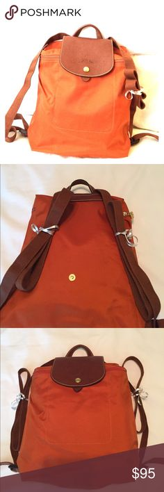 Longchamp backpack orange and brown Longchamp backpack. Orang with brown leather and straps. Hardware is shiny, no tarnish. Actually purchased in France. Designer Purses, Designer Handbags, Street Style Women, Street Styles, Longchamp Backpack, Orange Backpacks, Miroslava Duma, Paris Street, New York Fashion