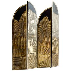 Art Deco Folding Screen as Seen in Pretty Woman - Home Professional Decoration Room Divider Diy, Fabric Room Dividers, Bamboo Room Divider, Wooden Room Dividers, Living Room Divider, Room Divider Walls, Hanging Room Dividers, Divider Ideas, Temporary Room Dividers
